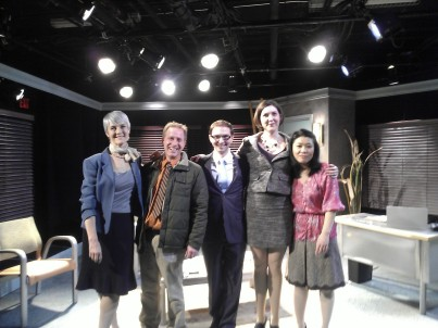 L to R: Julie Berndt (Beneatha), Desmond Dutcher (Robertson)Kevin Stanfa (Travis), Mary Hynes (Jones) & E. J. An (Melinda).Photo credit to Susanne Pinedo