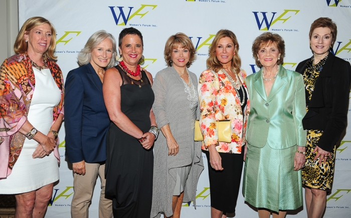 The Women's Forum of New York's Elly Awards: (Left to right) Doris P. Meister, President of the Women's Forum of New York; Glenn Close; Eve Ensler; Elly Awards honoree Pat Mitchell; Elly Awards honoree Maria Cuomo Cole, Matilda Raffa Cuomo; Beverly Beaudoin, President of the Education Fund of the Women's Forum of New York.